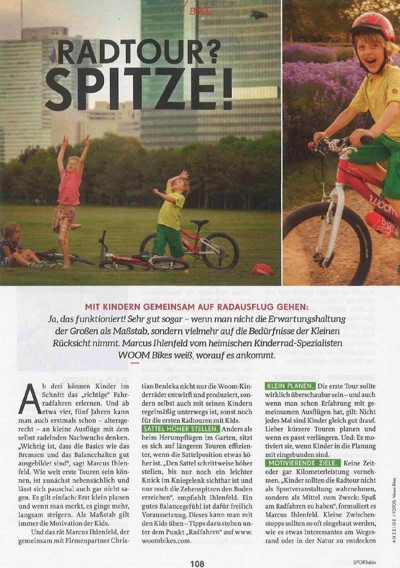Marcus von woom gibt Tipps für Radausflüge mit Kindern in der Zeitschrift Sport Aktiv