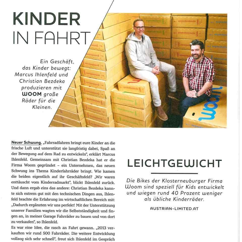Die Geschichte der Firma woom im Magazin Austrian Limited