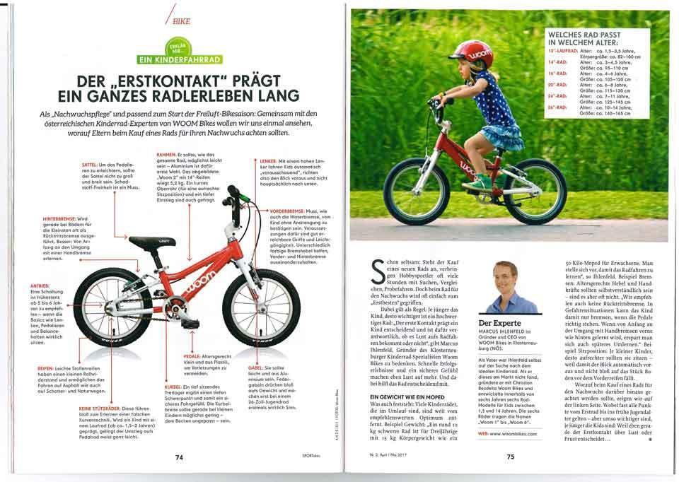 Ein Beitrag über Kinderfahrräder in der Zeitschrift Sport aktiv