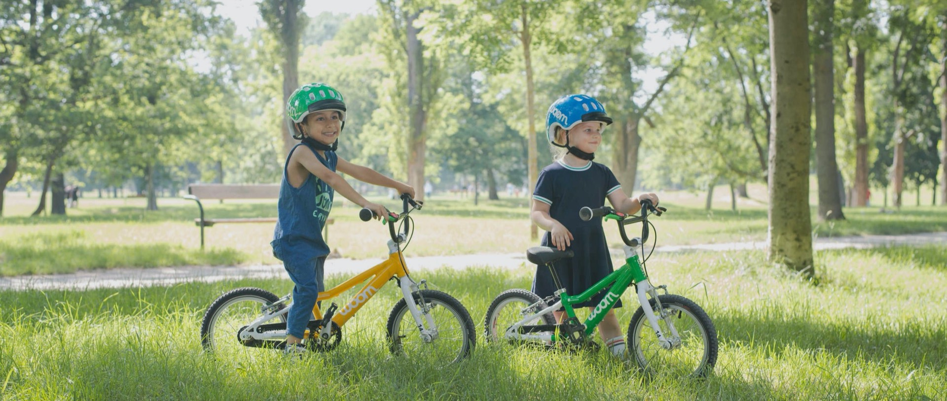 kids riding woom bikes